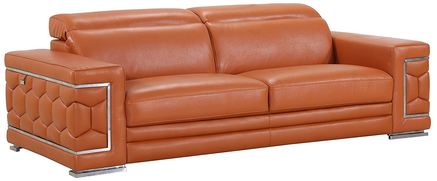 Blackjack Furniture The Usry Collection Genuine Italian Leather Upholstered Living Room Sofa Set, Camel
