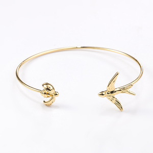 BLX-00668 2018 latest fashion Beautiful Bees birds shape 24K Brass solid metal Supplier Zinc Alloy Bracelet Charms Bangle