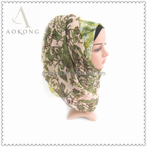Fashion women ombre green color vine scarf hijab