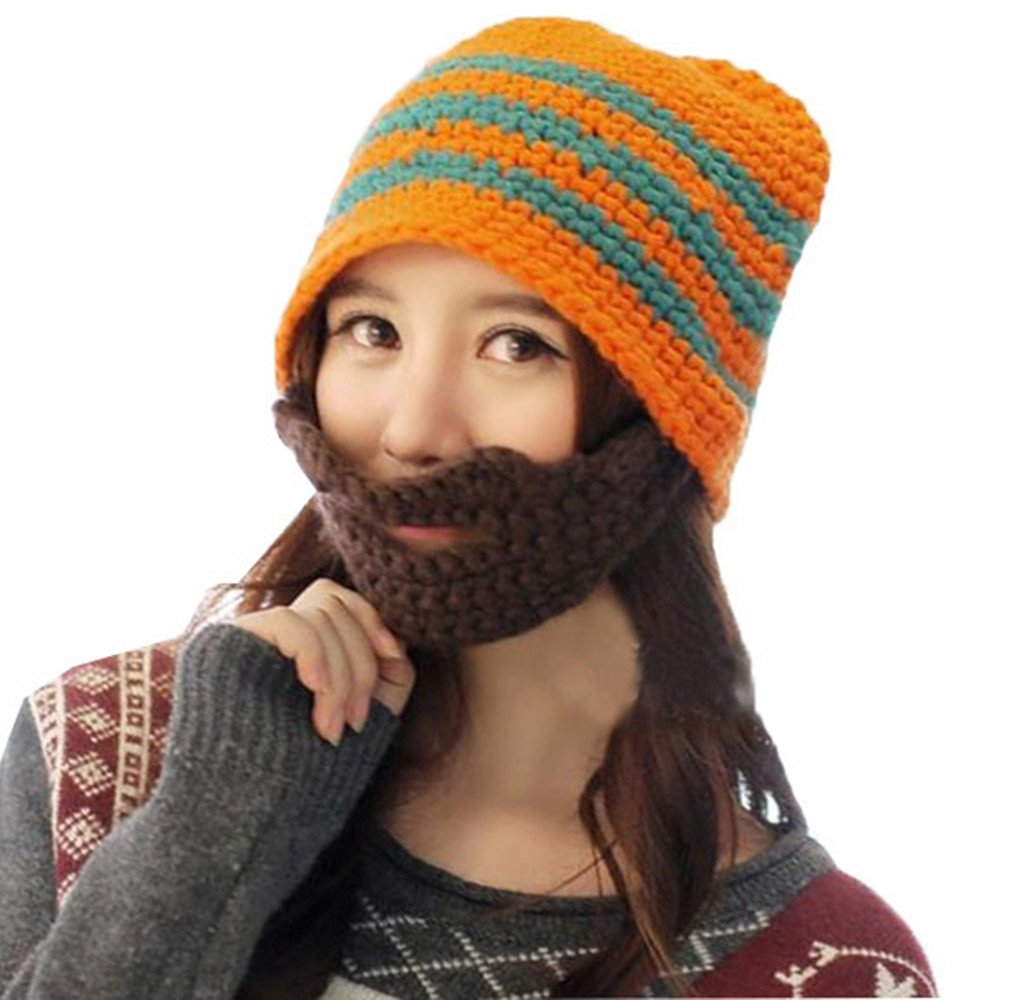 d4e00da35e9 Get Quotations · D-Foxes Knit Winter Crochet Unisex Crochet Beard Beanie  Mustache Mask Face Warmer Ski Hat
