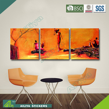 Home decor hotel wall art diy abstract three panel wall painting designs for living room