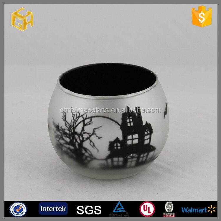 2016 New design christmas glass candle cup with the five-pointed star and flowers on the surface,Christmas ornaments