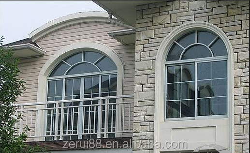 China manufacture hot sell environmental protection aluminium alloy sliding curve window with grills
