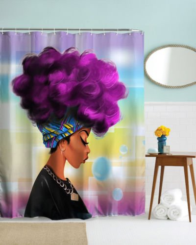 DENGYUE Sexy Sun-Tanned Skin Girl Shower Curtain, Purple Curling Afro Hair Plaid Hairband Closing Eyes Red Lip Girl Enjoying Her Free Time Dreamy Bulb Blue Waterproof Bathroom Curtain (Purple, 60x72)