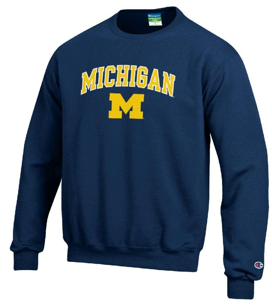 Michigan Wolverines Stadium Powerblend Screened Crew Sweatshirt by Champion