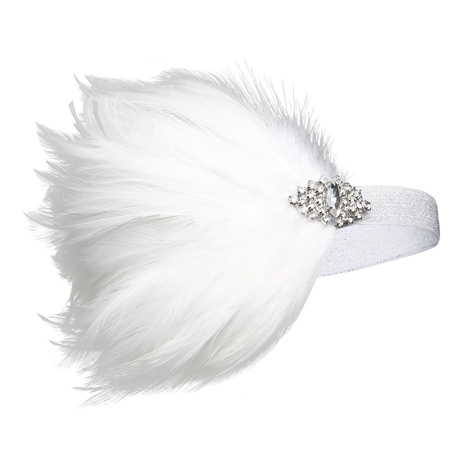 BABEYOND 1920s Flapper Headpiece 20s Great Gatsby Headband White Feather Headband 1920s Flapper Gatsby Accessories with Crystal (White)