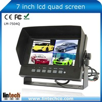 7 inch Digital waterproof Car LCD monitor with Quad split screen