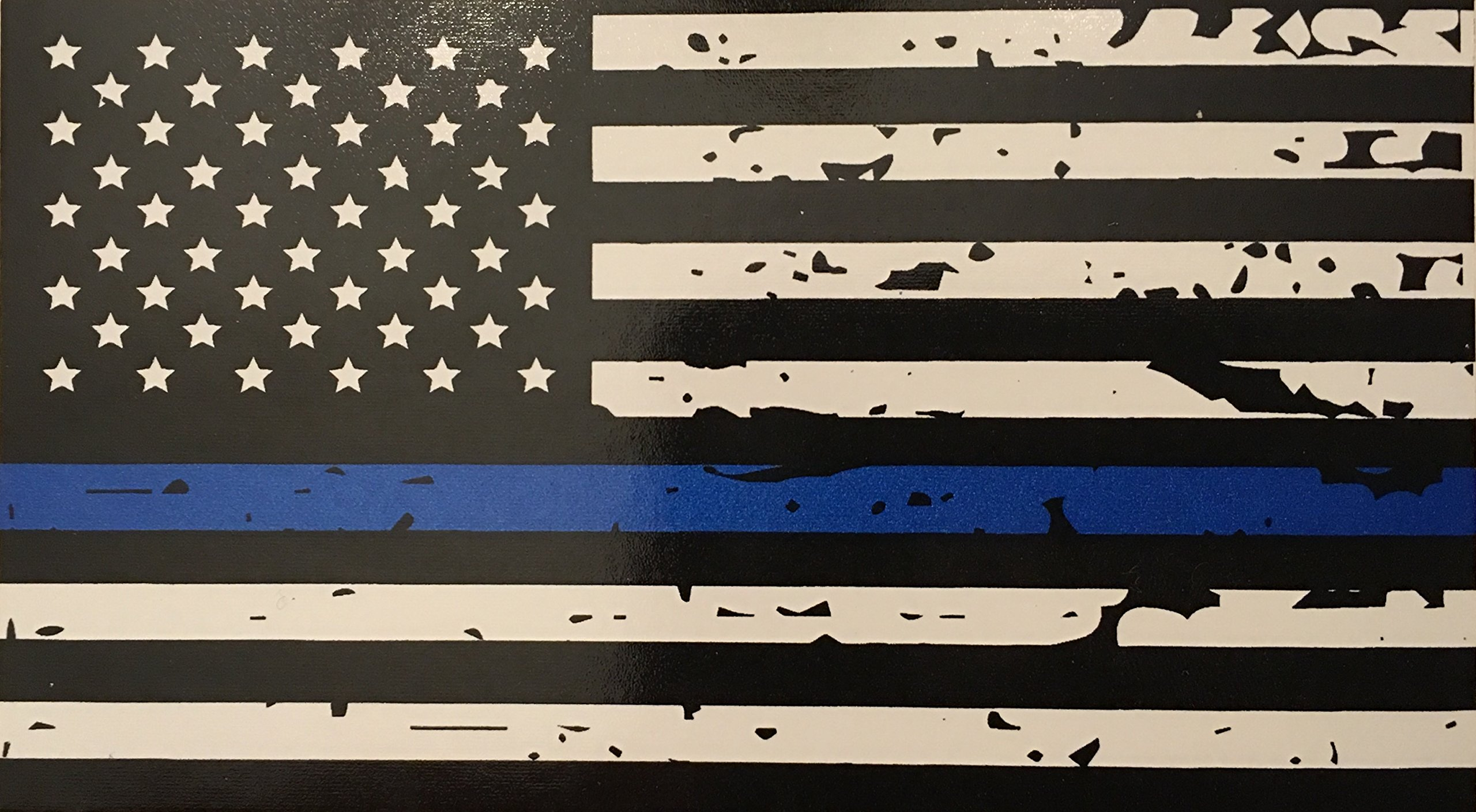 Blueline flags tattered thin blue line vinyl reflective decal black white blue american