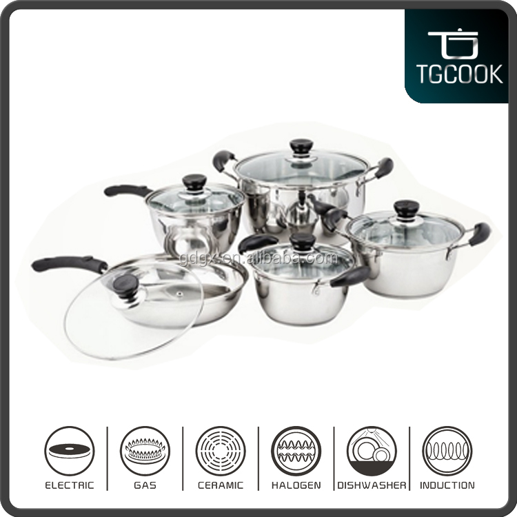 10 pcs Korea Style Stainless Steel Cookware Set/Pots and Pans Cooking Sets