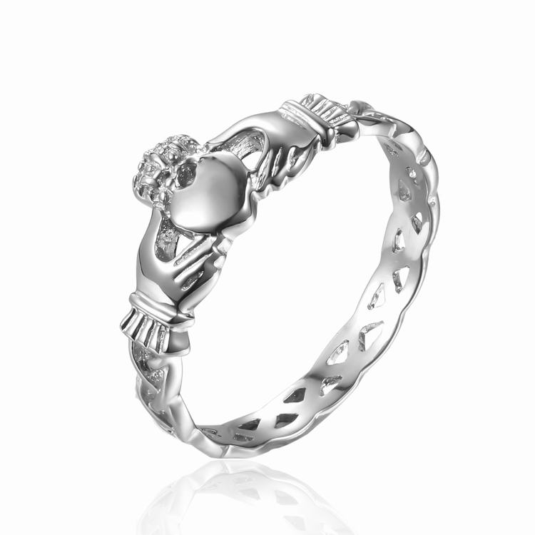 Heart with hand design peruvian wedding ring
