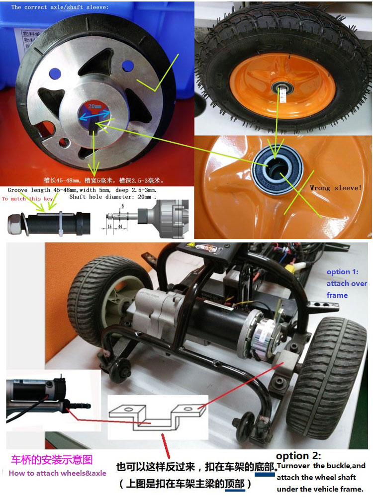Tricycle rear axle or Small rear axle with 24v electric brushless dc motor