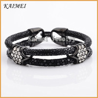Fashion Luxury Jewelry Black Real Leather Stingray Bracelet Cord With Crystal