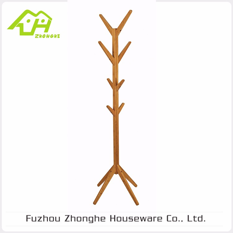 Popular Design Wooden Bamboo Tree Shaped Coat Rack, Hat Rack Stand