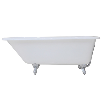 "54"" CAST IRON SAFE & ANTI-SLIDE ROLL TOP BATHTUB WITH POLISHED CHROME FEET"