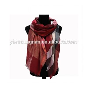 Stock Pashmina Maxi Square Tartan Plaid Scarf