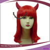 New style Synthetic Women hair lady's red Halloween party wigs with ox horn