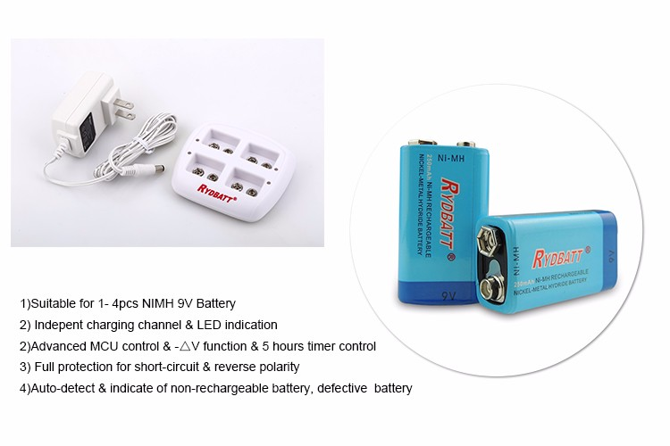 Portable Rydbatt/rydelec 4 Slot 9V NiMH Smart Charger