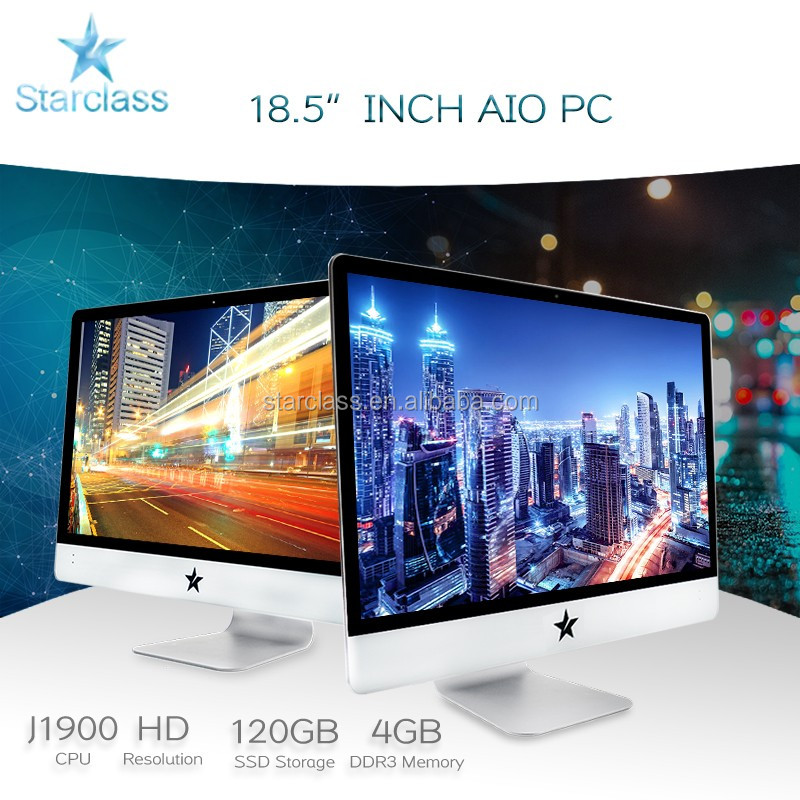 Wholesale gaming pc LCD Full HD 1080P win7 win8 win10 Linux All in one Computer 18.5 J1900