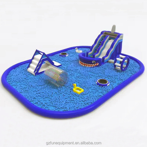 pool ball games Inflatable Water Slide With Huge Pool Park For Amusement Park Games