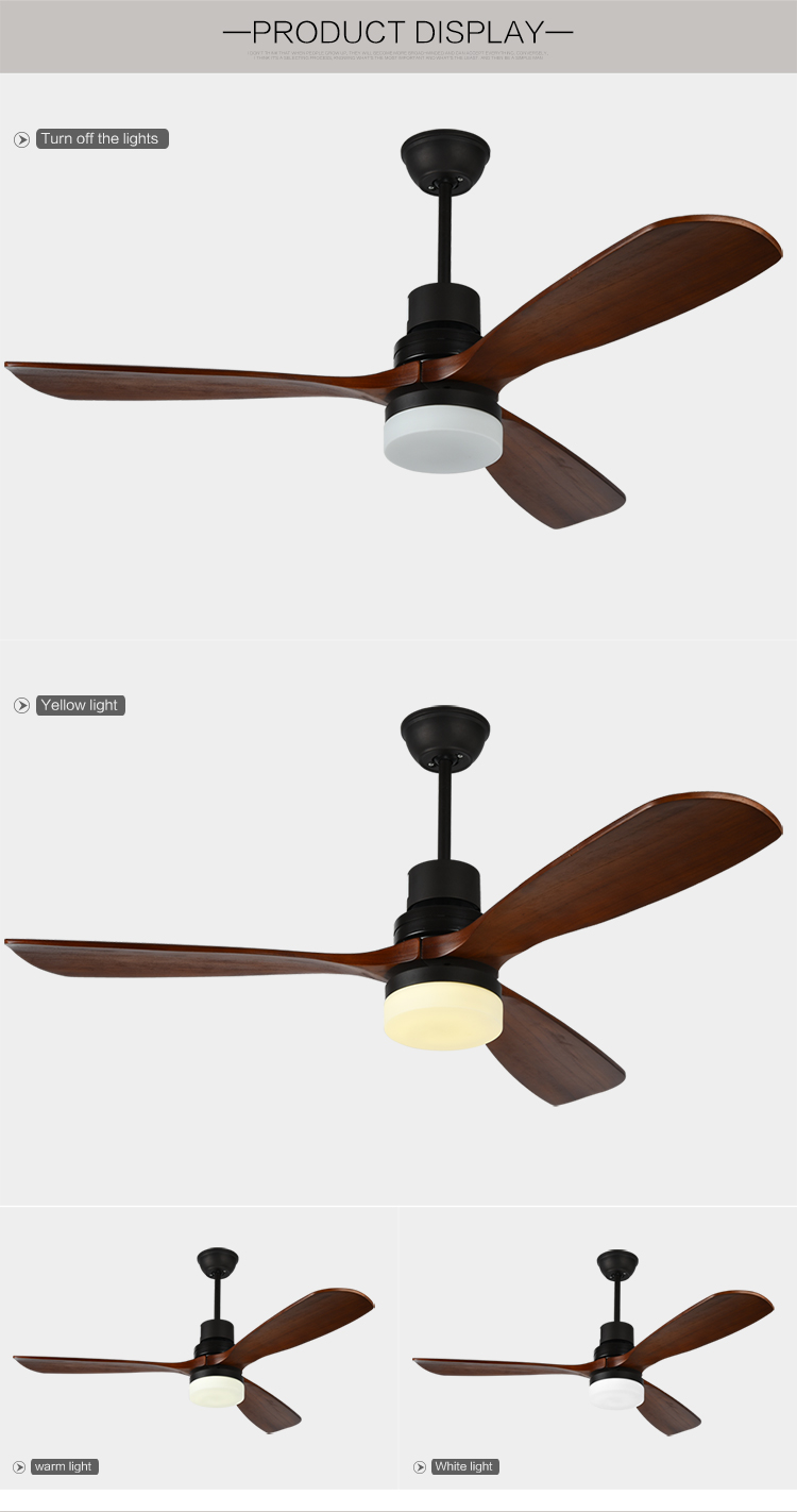 Hot sale solid wood blades 70w 52 inch newest decorative ceiling fan with led light
