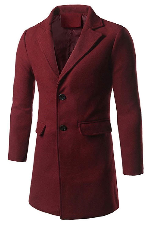 WSPLYSPJY Womens Long Sleeve Faux Fur Collar Winter Warm Woolen Trench Coat