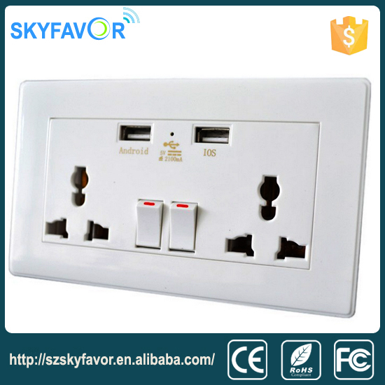 New design super function 16A 250V Lighting Receptacle Universal 5V 2.1A usb wall socket switch