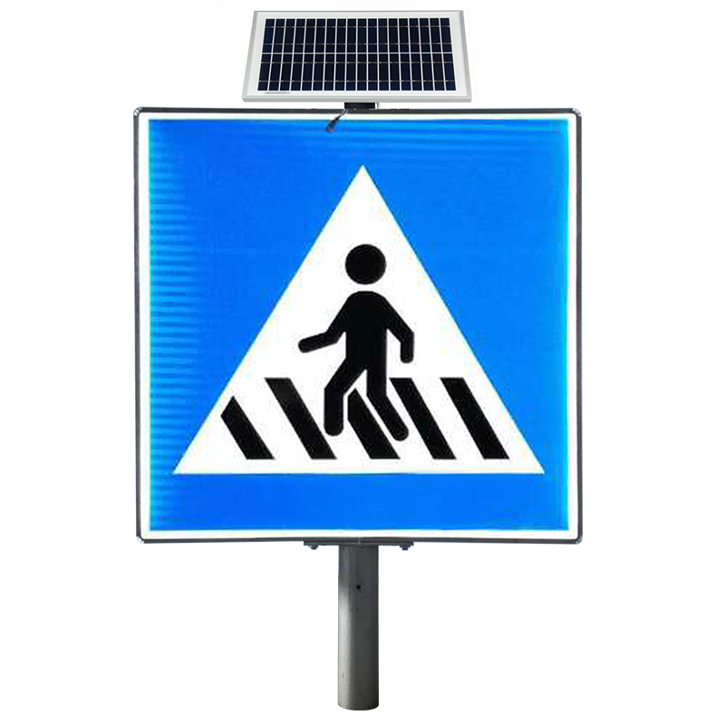 600mm 700mm 900mm Solar LED Lighted No Turning Round Road Sign