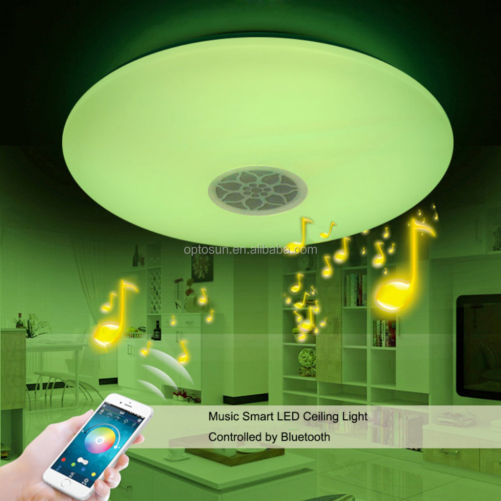 Modern surface mounted dimmable rgb lamp fixture round color changing led ceiling light with sleep timer bluetooth speaker buy high quality dimmable