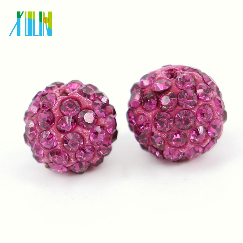 Cheap Bulk Wholesale Newest Product Colored Shamballa Beads for Jewelry Making Size 4mm - 18mm, IB00127 Fuchsia