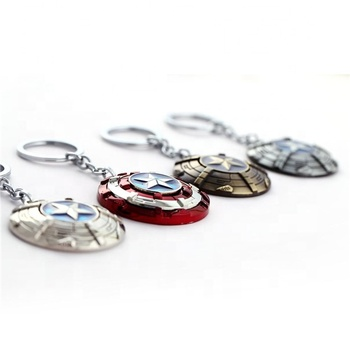 Captain American keychain Rotating 3D Shield metal Anime Avengers Keychain Iron men marvel keychain