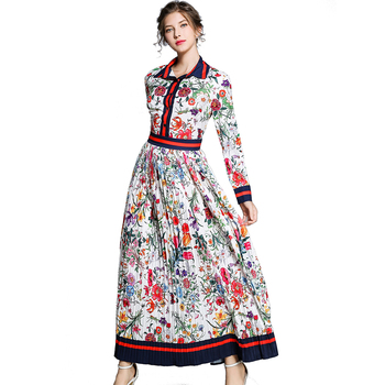 European and American Women Fashion Turn Down Collar Button Front Patchwork Long Sleeve Pleated Print Maxi Dress