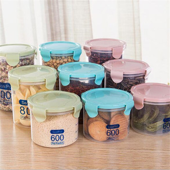 Portable Plastic Dry Food Container Clear Round Fridge Storage Box