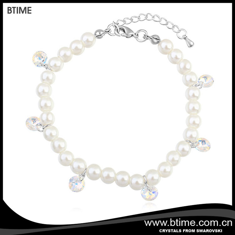 Btime luxury pearl with charm crystals for lady wedding bracelet
