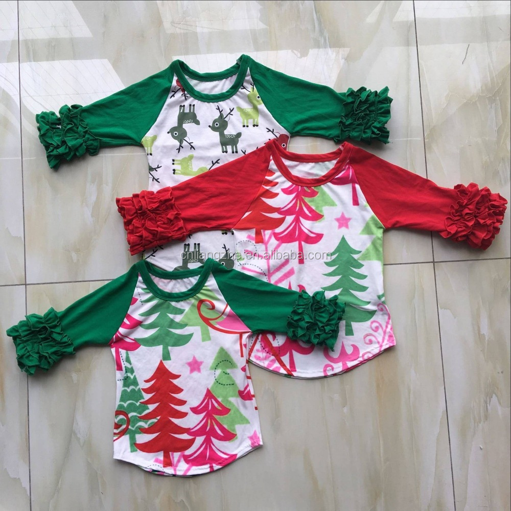 QY-380 Fashion Deer Pattern ruffle raglan shirts for baby christmas wear wholesale childrens boutique clothing