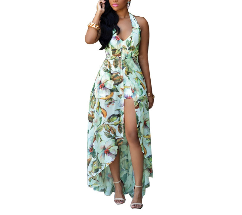 Short Sleeve Floral Summer Casual V Neck Dress Green Yellow Woman Dress