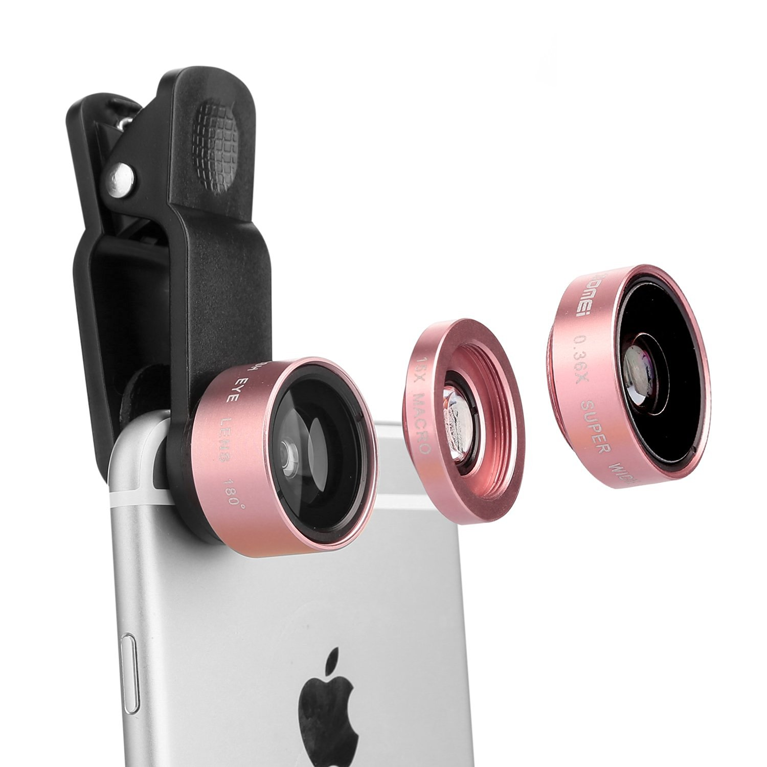 Zomei 3 in 1 Fish Eye + Macro Lens + 0.36X Wide Angle Cell Phone Camera Clip on Lens For iphone 6/ 6s/ 6s Plus Samsung SmartPhones(Rose Gold)