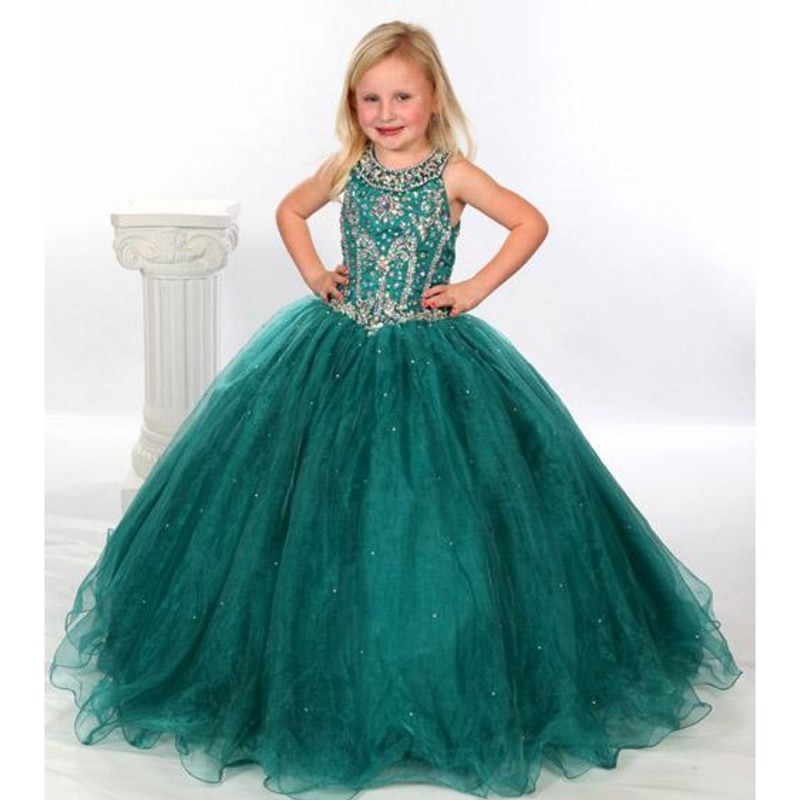 Hunter Green Flower Girl Dresses Ball Gown Beaded Scoop Little Girls Pageant Dress with Keyhole Back 2015 Robe enfant mariage