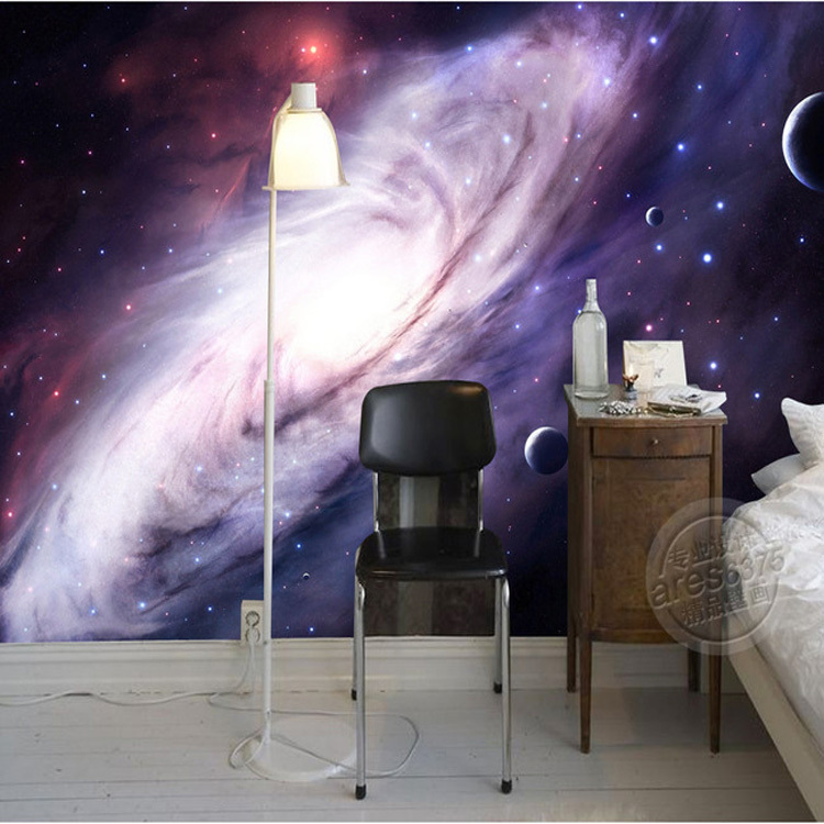 3d purple galaxy wallpaper for bedroom charming wall mural silk photo wallpaper painting wall. Black Bedroom Furniture Sets. Home Design Ideas