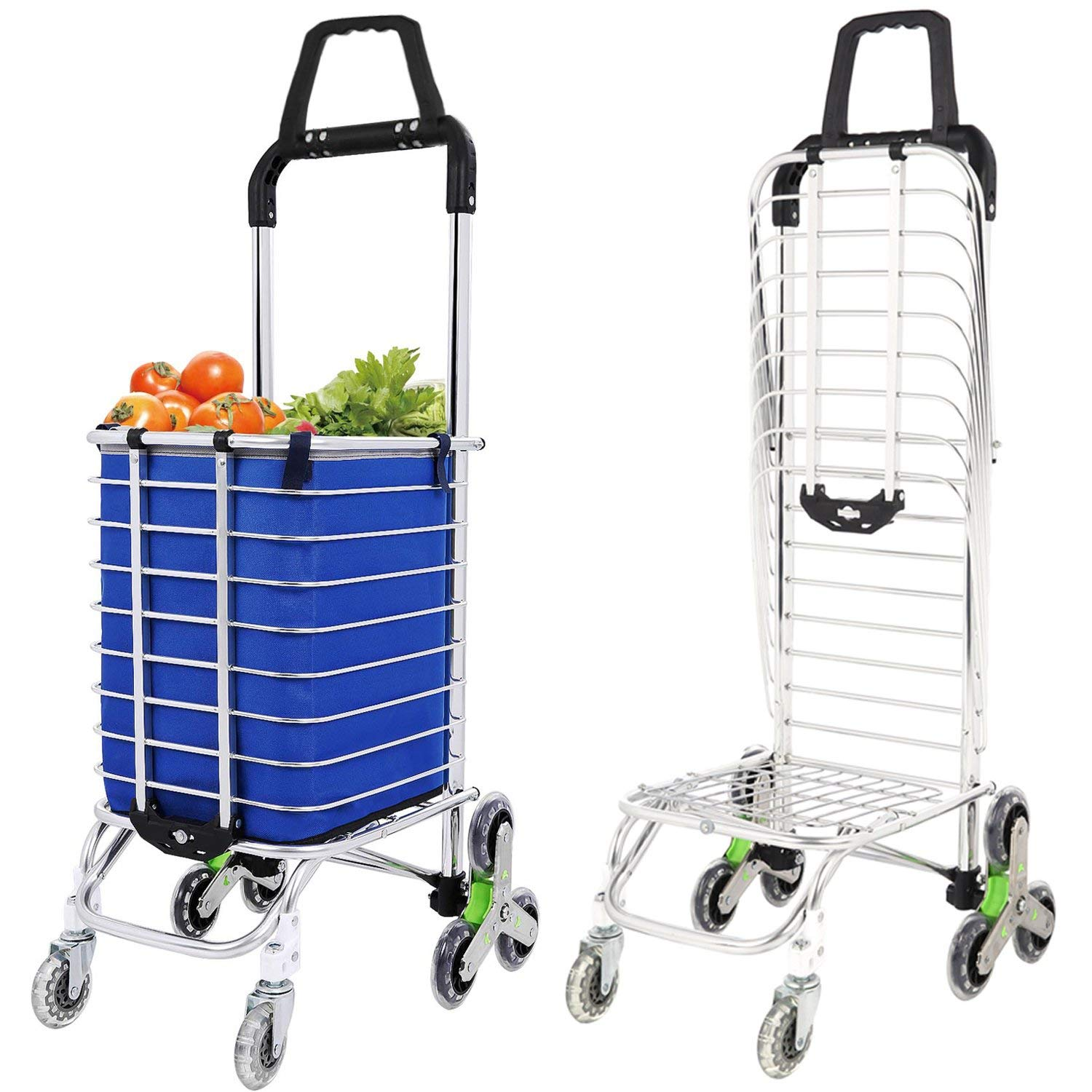 Large Capacity Shopping Trolley on Wheels Folding Shopping Cart with Removable