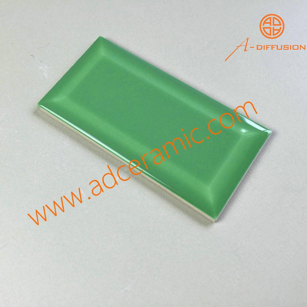 Verde oscuro biselado baldosas de Metro 3x6 pulgadas 75x150mm para ...