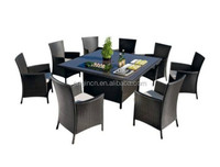 KD design easy assembly 8 seater restaurant banquet rattan effect garden set hotel dining chair