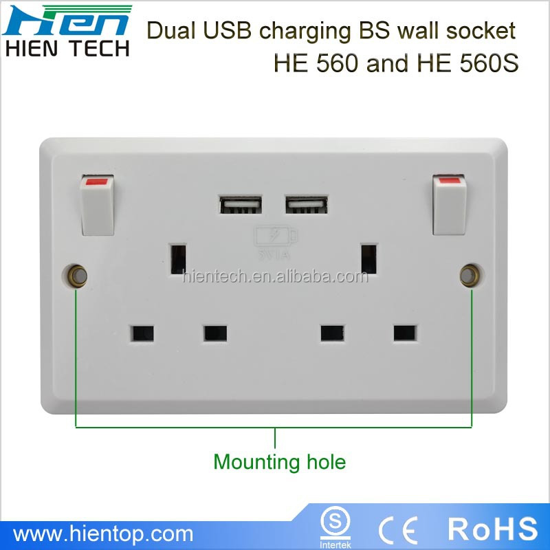 Electrical Socket Uk Type 2 Gang Usb Wall Socket With Switch - Buy ...