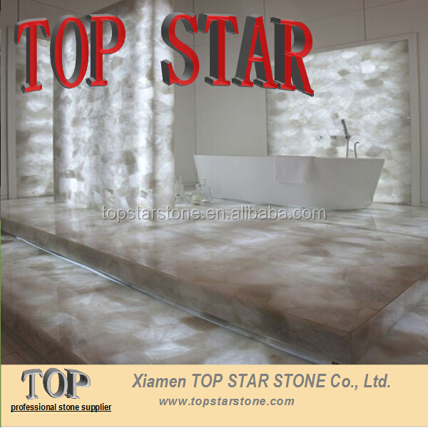 Backlit Luxury Natural White crystal quartz Semiprecious Stone for bathroom decoration