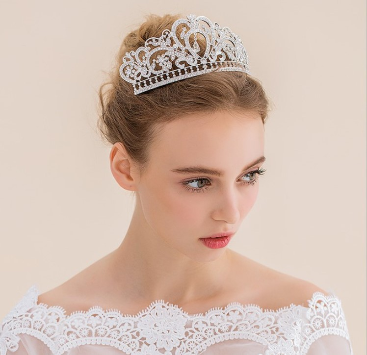 Elegant Crystal Tiara Wedding Bridal Flower Diamante <strong>Crown</strong> Headband Hair Accessories Jewelry