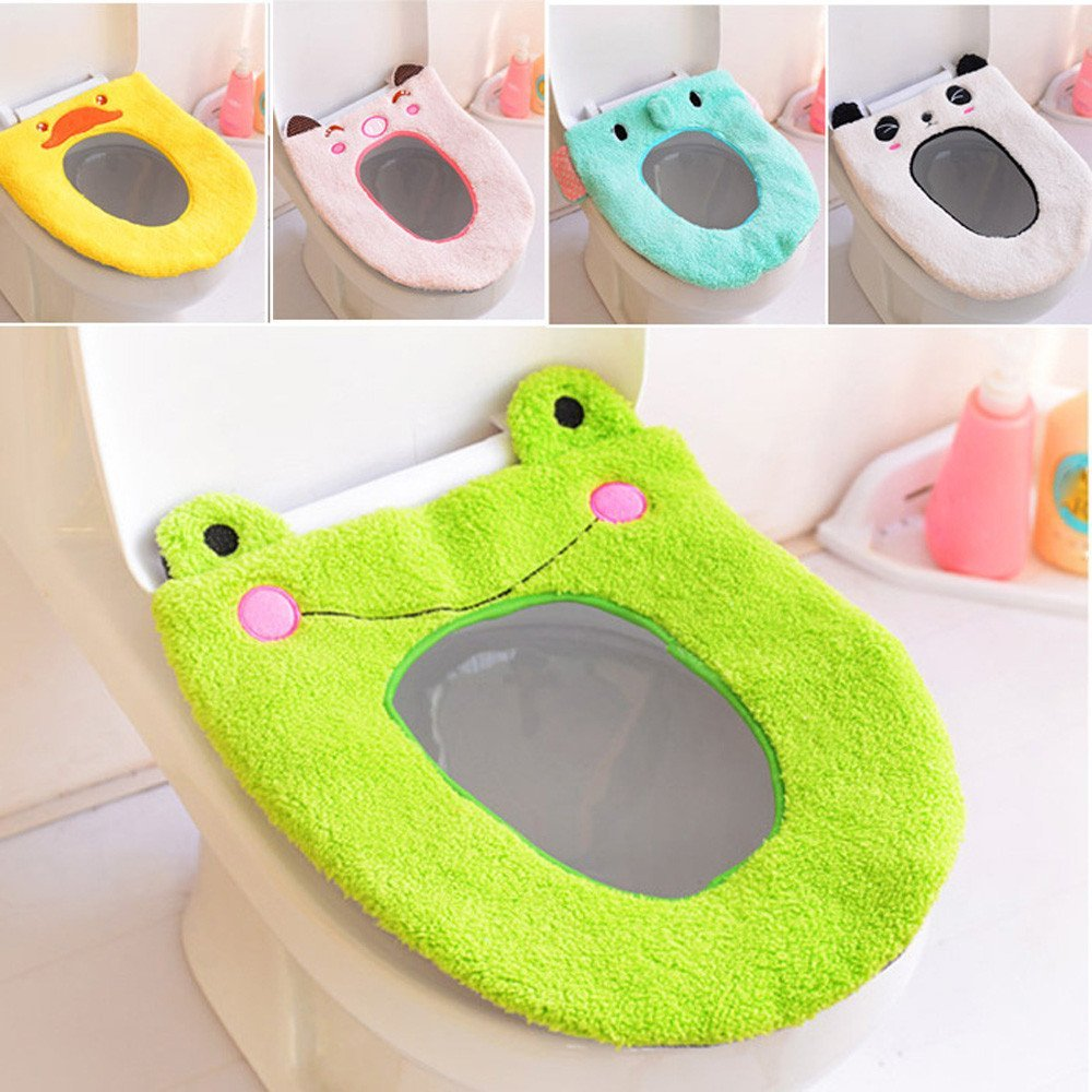 Toilet Seat Cover,Faber3 Cartoon Bathroom Toilet Seat Washable Cute Toilet Seat Soft Warmer Mat Cover Pad Cushion Frog Toilet Seat Panda Toilet Seat Duck Toilet Seat Animal Toilet Seat