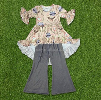 new printing dress clothes and gray bell-bottom girl set baby and kids wholesale boutique outfits