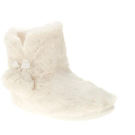 Women's Faux Fur Slipper Bootie with Satin Ribbon Tie and Pom Trim
