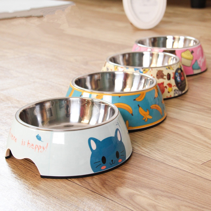 Spot wholesale stainless steel food cup double pet feeder plastic drinking water cat supplies dog bowl