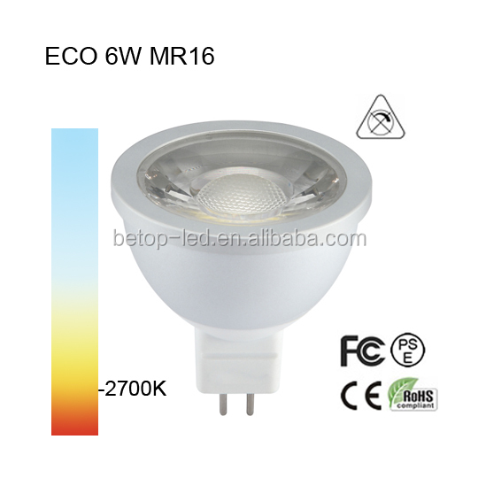 6w 660lm led mr16 dimmable cob spotlight