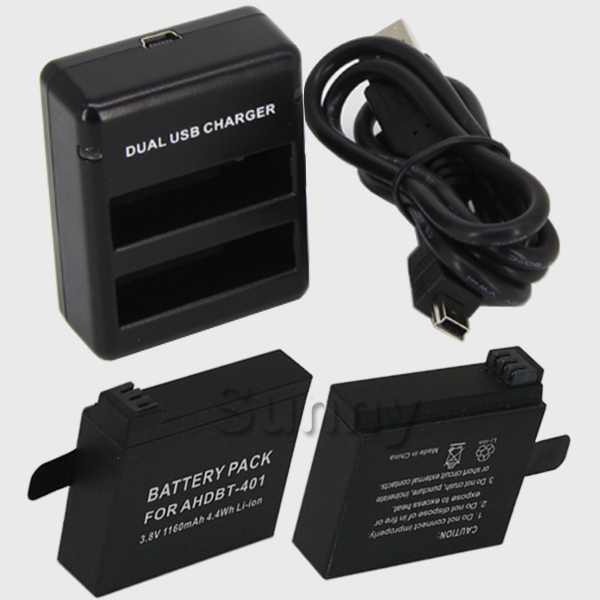 Battery (2-Pack) + Dual Charger For GoPro HERO4 Black , HERO4 Silver,Go Pro